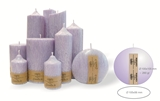 Palm wax lilac pillar candle with a crystal desigh look and a cotton wick, without aroma, Ø 100/105 x 56mm