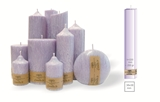 Palm wax lilac pillar candle with a crystal desigh look and a cotton wick, without aroma, 38x38mm, h 220mm
