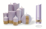 Palm wax lilac pillar candle with a crystal desigh look and a cotton wick, without aroma, Ø 36x60mm, h 220mm