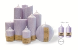 Palm wax lilac pillar candle with a crystal desigh look and a cotton wick, without aroma, Ø 44mm, h 81mm - 2 pcs.