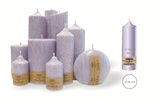 Palm wax lilac pillar candle with a crystal desigh look and a cotton wick, without aroma, Ø 49mm, h 158mm
