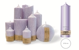 Palm wax lilac pillar candle with a crystal desigh look and a cotton wick, without aroma, Ø 58mm, h 218mm