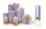 Palm wax lilac pillar candle with a crystal desigh look and a cotton wick, without aroma, Ø 59mm, h 171mm
