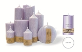 Palm wax lilac pillar candle with a crystal desigh look and a cotton wick, without aroma, Ø 62mm, h 106mm
