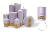 Palm wax lilac pillar candle with a crystal desigh look and a cotton wick, without aroma, Ø 78mm, h 130mm