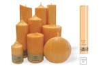 Palm wax orange pillar candle with a crystal desigh look and a cotton wick, without aroma, 38x38mm, h 220mm