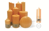 Palm wax orange pillar candle with a crystal desigh look and a cotton wick, without aroma, Ø 49mm, h 158mm