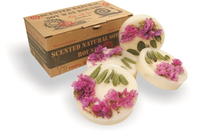Natural soy wax scented rounds, 130g/4.6 oz - pine