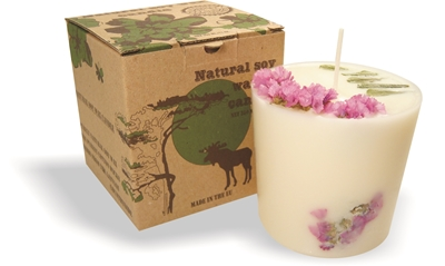 Soy wax candle with a cotton wick, 350 ml/12oz - pine