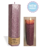 Lace palm wax lavender pillar candle with a crystal desigh look and a cotton wick, without aroma, Ø 50mm, h 165mm
