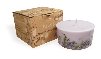 Soy wax candle with a cotton wick, 200 ml/7oz, colour line - lilac