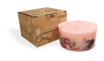 Soy wax candle with a cotton wick, 200 ml/7oz, colour line - pink