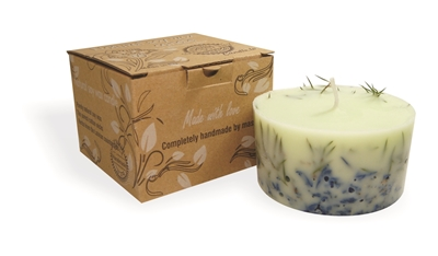 Soy wax candle with a cotton wick, 200 ml/7oz, colour line - green