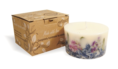 Soy wax candle with a cotton wick, 200 ml/7oz, colour line - white, lavender